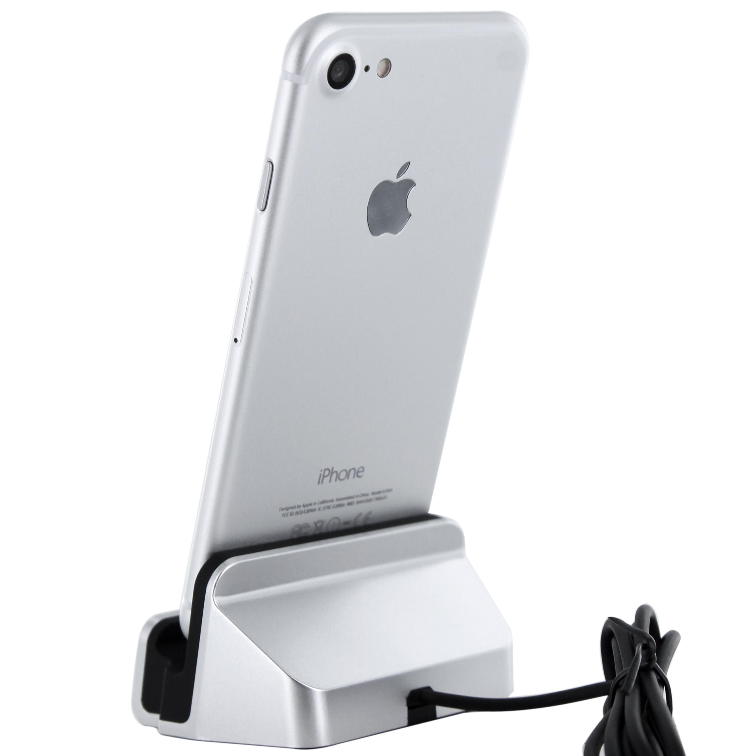 iPhone 7 Lightning Dockingstation Silber für iPhone 7 / SE / 6 / 6S ...