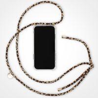 Leopard Fashion Style Handykette für iPhone XS - Handy Hülle zum Umhängen mit Band (Leo Braun mit Gold)